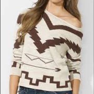 Ralph Lauren Patterned Boat Neck Sweater size M